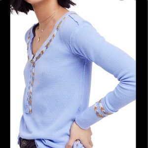 Free People | blue rainbow thermal top size M